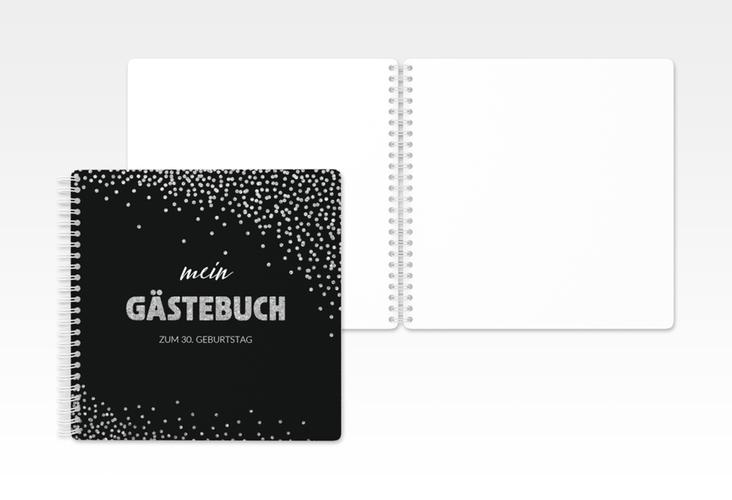 """Gästebuch Geburtstag """"Glitzer"""" Ringbindung grau"""