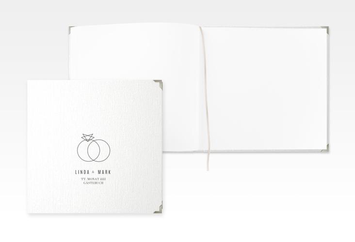 """Gästebuch Selection Hochzeit """"Rings"""" Leinen-Hardcover weiss"""