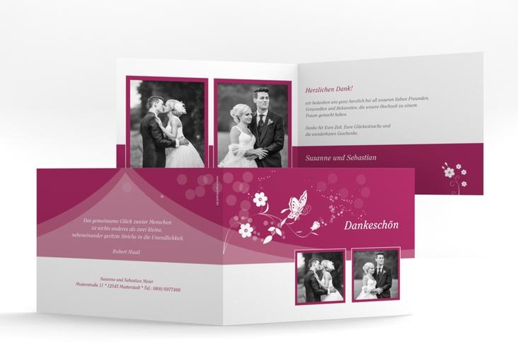 "Danksagungskarte Hochzeit ""Verona"" A6 Klappkarte Quer pink"