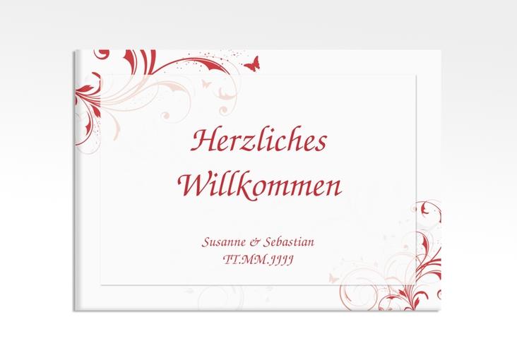 """Willkommensschild Hochzeit """"Palma"""" 70 x 50 cm Leinwand rot"""