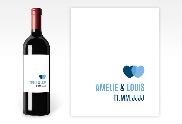 """Weinetikett Hochzeit """"Couple"""" Etikett Weinflasche 4er Set blau"""