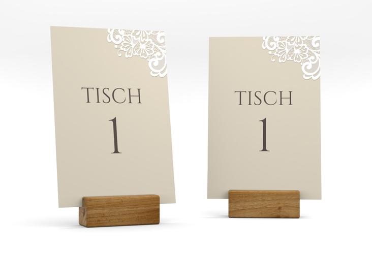 """Tischnummer Hochzeit """"Vintage"""" Tischaufsteller beige"""