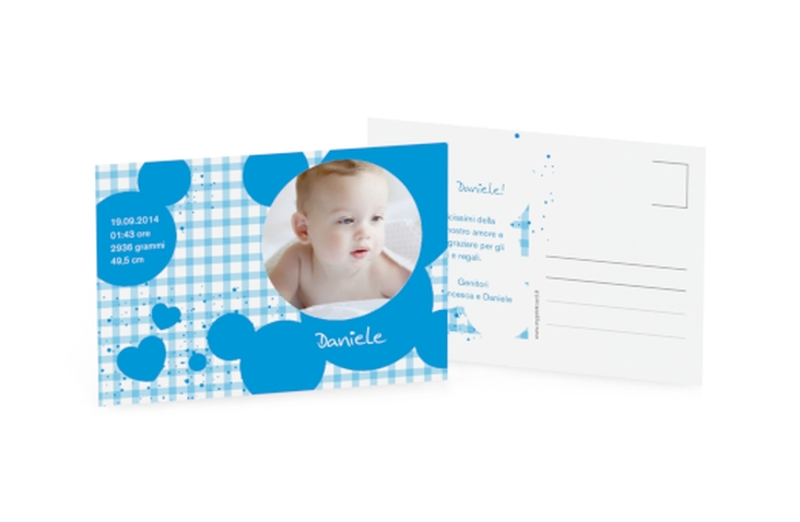 Biglietti nascita quadrettato A6 Postkarte