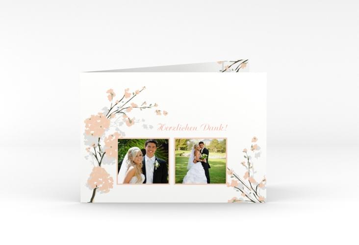 """Danksagungskarte Hochzeit """"Salerno"""" A6 Klappkarte Quer apricot"""