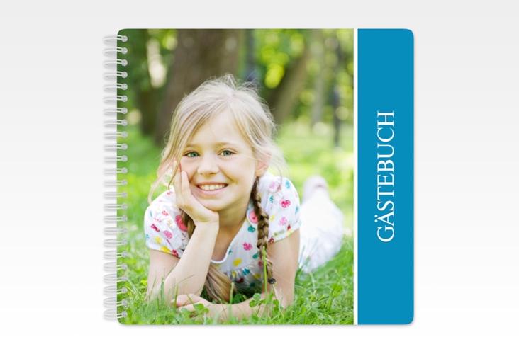 "Gästebuch Kommunion ""Aura"" Ringbindung blau"