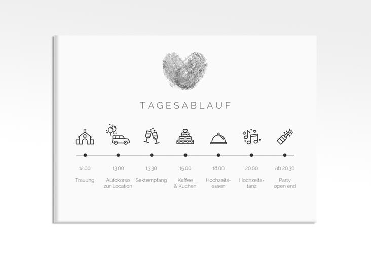 """Tagesablauf Leinwand Hochzeit """"Fingerprint"""" 70 x 50 cm Leinwand schwarz"""