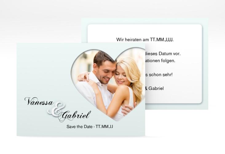 """Save the Date-Visitenkarte """"Sweetheart"""" Visitenkarte tuerkis"""