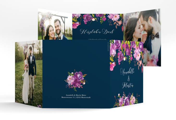 "Dankeskarte Hochzeit ""Violett"" Quadr. Karte doppelt blau"