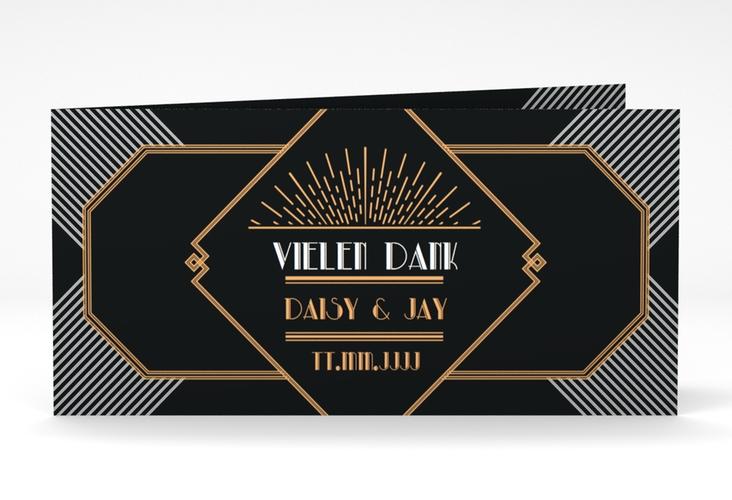 """Danksagung Hochzeit """"Gatsby"""" DIN lang Klappkarte schwarz"""