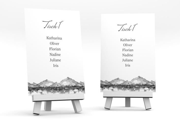 """Tischaufsteller Hochzeit """"Bergliebe"""" Tischaufsteller grau"""