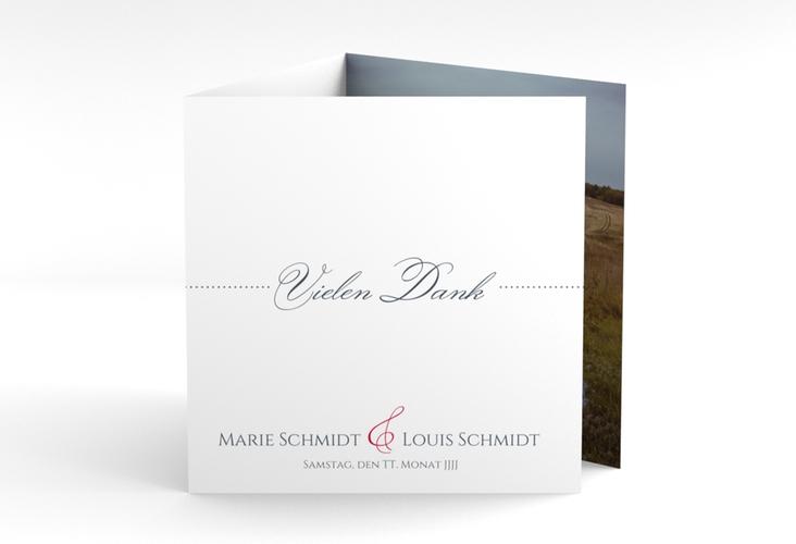 "Dankeskarte Hochzeit ""Pure"" Quadr. Karte doppelt rot"