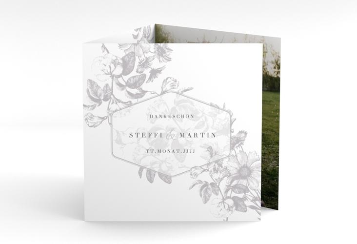 "Dankeskarte Hochzeit ""Magnificent"" Quadr. Karte doppelt grau"