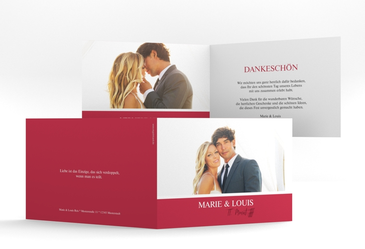 """Danksagungskarte Hochzeit """"Balance"""" A6 Klappkarte Quer rot"""