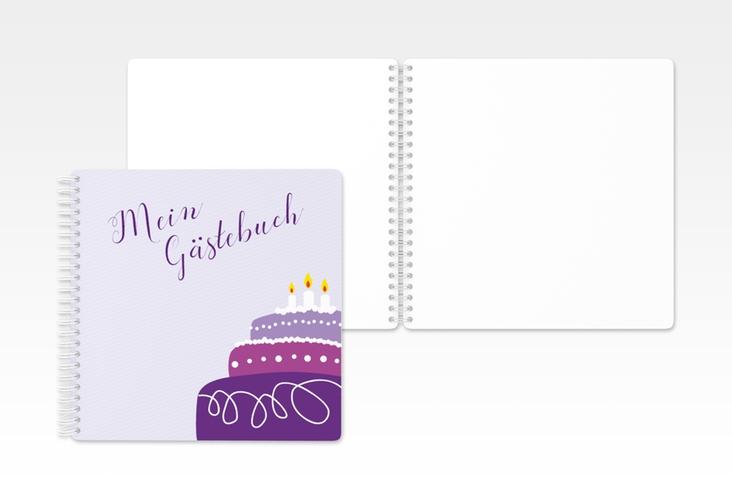 """Gästebuch Geburtstag """"Cake"""" Ringbindung flieder"""