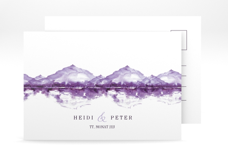 "Verlobungskarte Hochzeit ""Bergliebe"" A6 Postkarte lila"