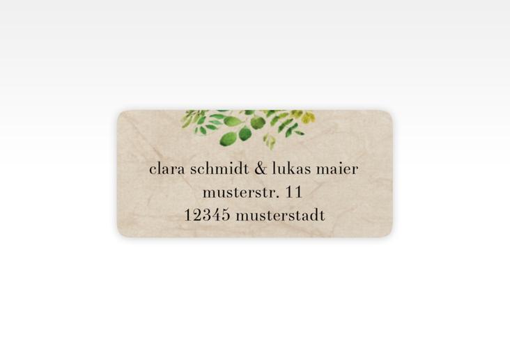 """Absenderetikett Hochzeit """"Botany"""" 45,7 x 21,2 mm beige"""