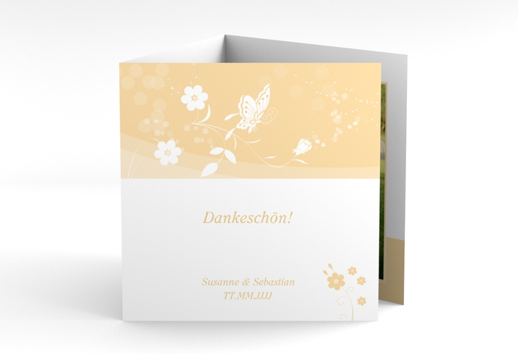 "Danksagungskarte Hochzeit ""Verona"" Quadr. Karte doppelt beige"