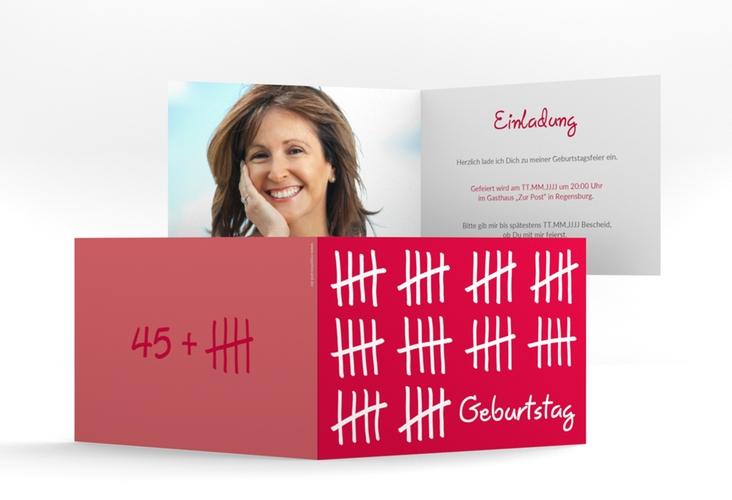 """Einladungskarte """"Strichliste"""" A6 Klappkarte Quer pink"""