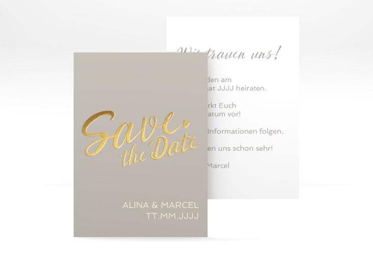 "Save the Date-Visitenkarte ""Glam"" Visitenkarte grau"