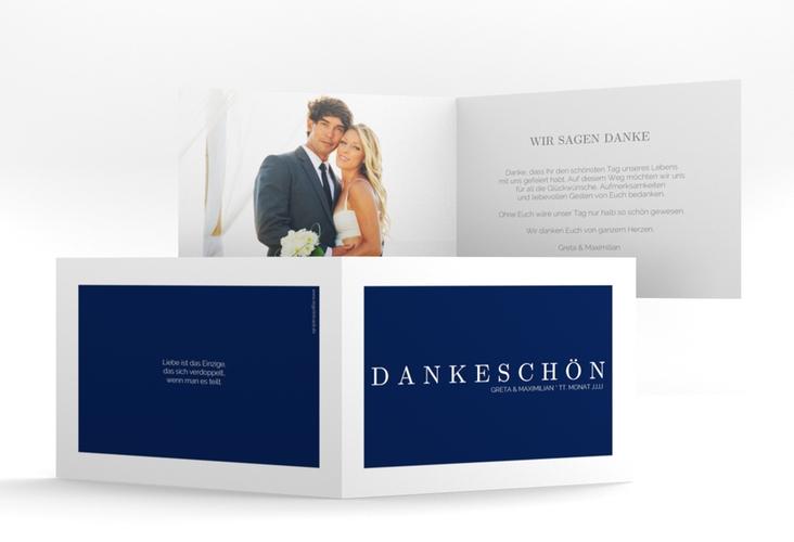 """Dankeskarte Hochzeit """"Simply"""" A6 Klappkarte Quer blau"""