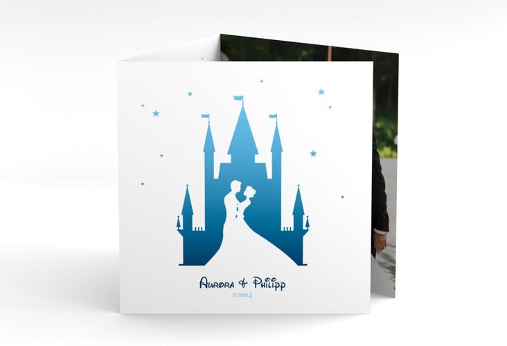 """Dankeskarte Hochzeit """"Castle"""" Quadr. Karte doppelt blau"""