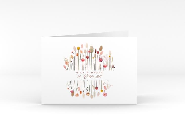 """Hochzeitseinladung """"Driedflower"""" A6 Klappkarte Quer weiss"""