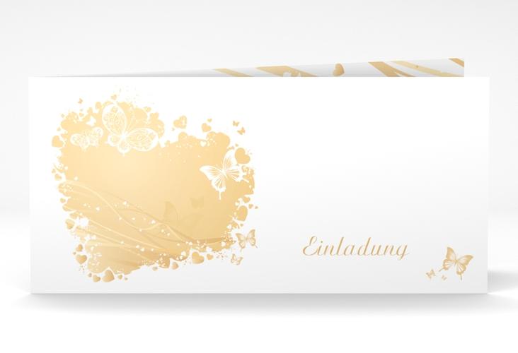 """Hochzeitseinladung """"Mailand"""" DIN lang Klappkarte beige"""