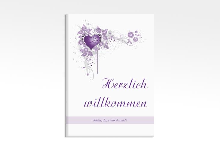 "Willkommensschild Leinwand ""Triest"" 50 x 70 cm Leinwand lila"