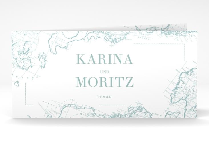 """Danksagungskarte Hochzeit """"Voyage"""" DIN lang Klappkarte mint"""