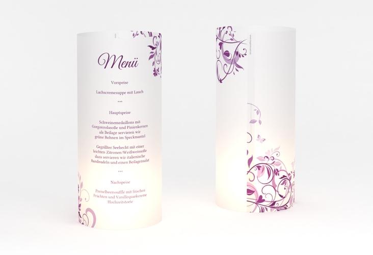 """Windlicht Menü Hochzeit """"Lilly"""" Windlicht lila"""