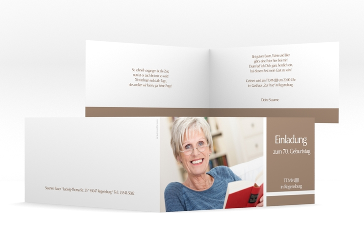 """Einladungskarte """"Gerd/Gerda"""" DIN lang Klappkarte braun"""