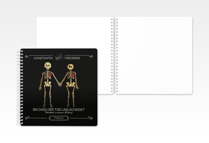 """Gästebuch Hochzeit """"Bones"""" Ringbindung schwarz"""