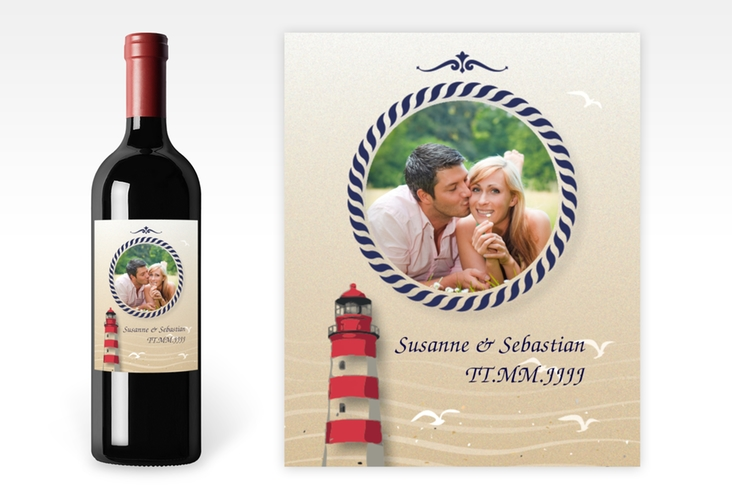 """Weinflaschenetikett Hochzeit """"Sylt"""" Etikett Weinflasche 4er Set"""