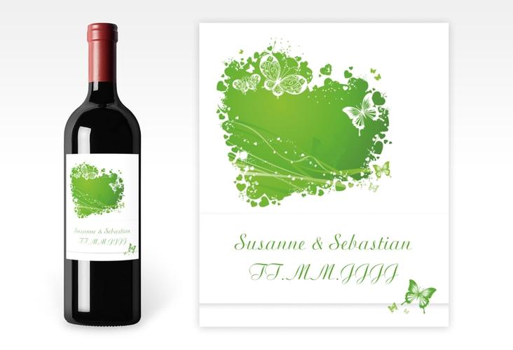 """Weinflaschenetikett Hochzeit """"Mailand"""" Etikett Weinflasche 4er Set gruen"""