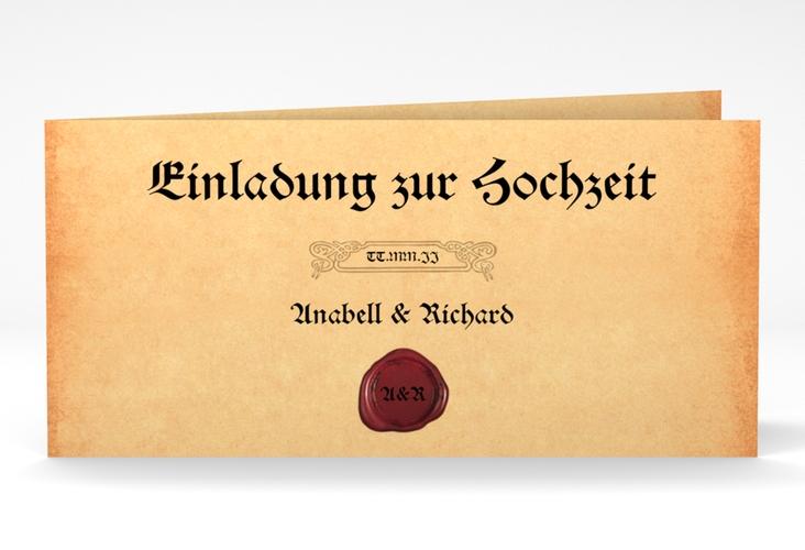 """Hochzeitseinladung """"Mittelalter"""" DIN lang Klappkarte"""