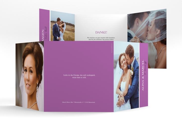 "Dankeskarte Hochzeit ""Classic"" Quadr. Karte doppelt lila"