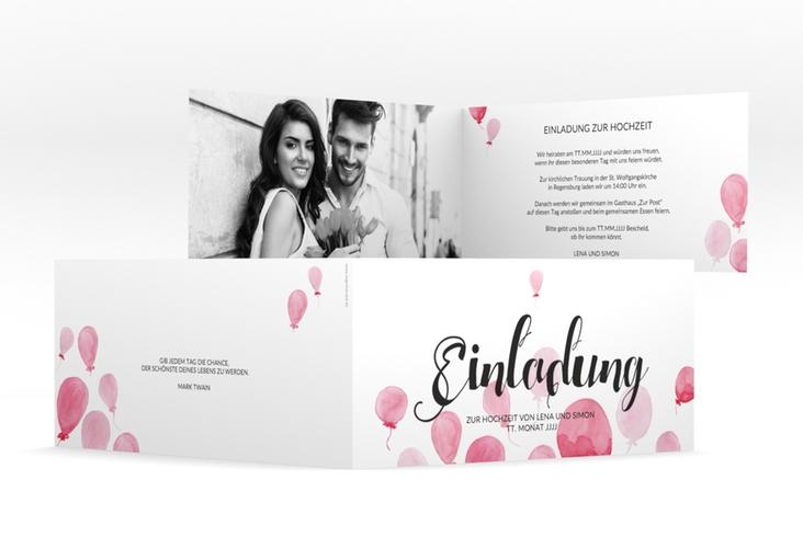 """Hochzeitseinladung """"Luftkuss"""" DIN lang Klappkarte"""