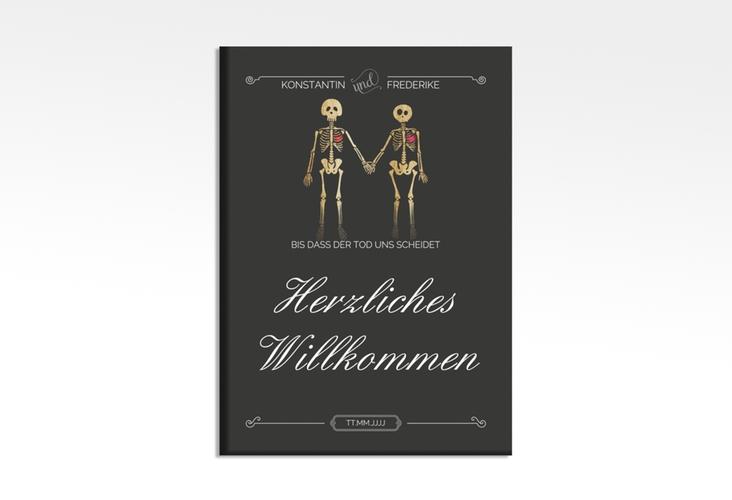 """Willkommensschild Hochzeit """"Bones"""" 50 x 70 cm Leinwand"""