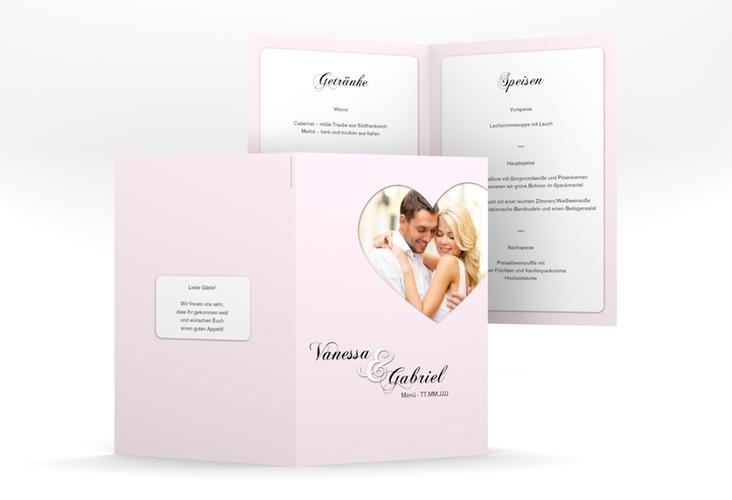 "Menükarte Hochzeit ""Sweetheart"" DIN A5 geklappt rosa"