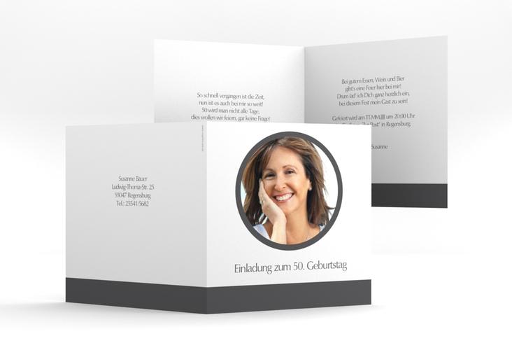 "Einladungskarte ""Anton/Antonia"" Quadratische Klappkarte grau"