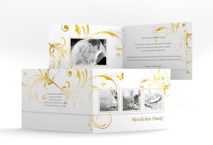 "Dankeskarte Hochzeit ""Palma"" A6 Klappkarte Quer gold"