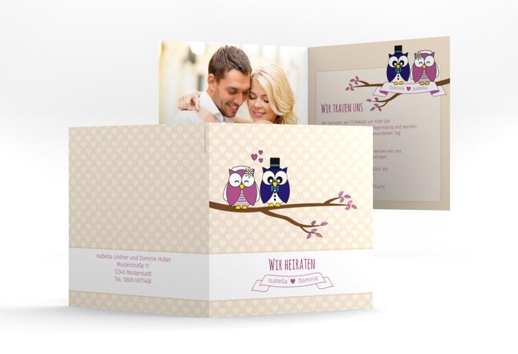 """Hochzeitseinladung """"Eulenliebe"""" Quadratische Klappkarte"""