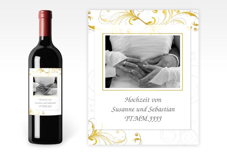 """Weinflaschenetikett Hochzeit """"Palma"""" Etikett Weinflasche 4er Set gold"""