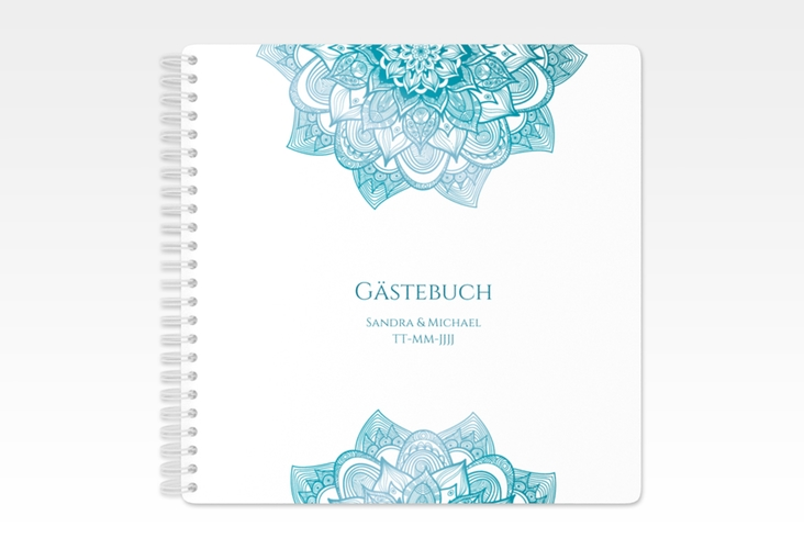"""Gästebuch Hochzeit """"Delight"""" Ringbindung tuerkis"""