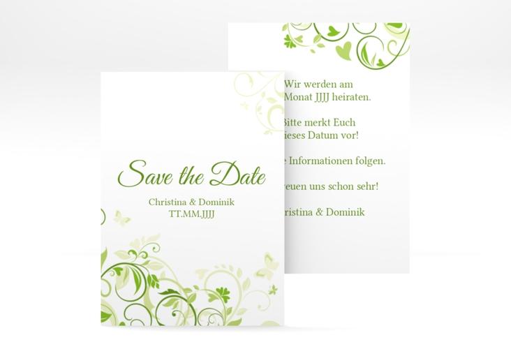 """Save the Date-Visitenkarte """"Lilly"""" Visitenkarte gruen"""