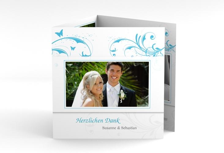 "Dankeskarte Hochzeit ""Palma"" Quadr. Karte doppelt tuerkis"