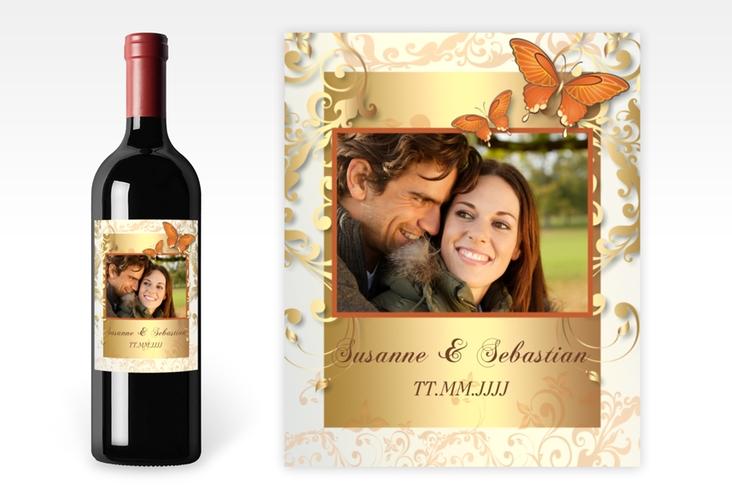 """Weinflaschenetikett Hochzeit """"Toulouse"""" Etikett Weinflasche 4er Set orange"""