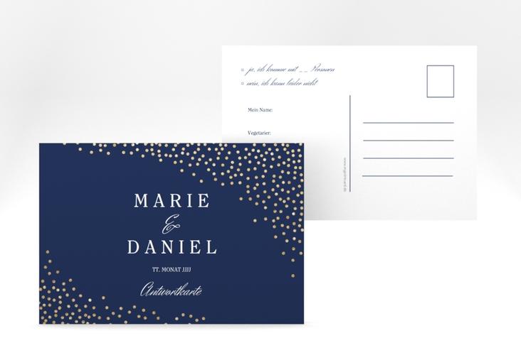 "Antwortkarte ""Glitter"" A6 Postkarte blau"