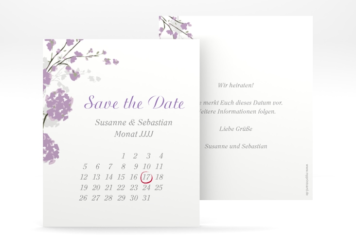 "Save the Date-Kalenderblatt ""Salerno"" Kalenderblatt-Karte flieder"