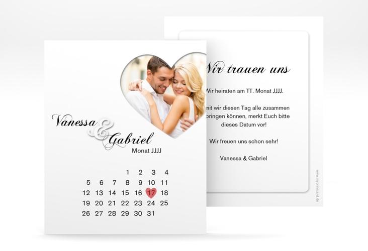 "Save the Date-Kalenderblatt ""Sweetheart"" Kalenderblatt-Karte weiss"
